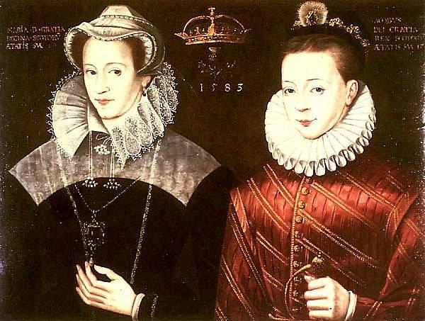 Marie Stuartovna se synem. V jeho prospěch se musela vzdát skotského trůnu, chlapci byl tehdy rok.