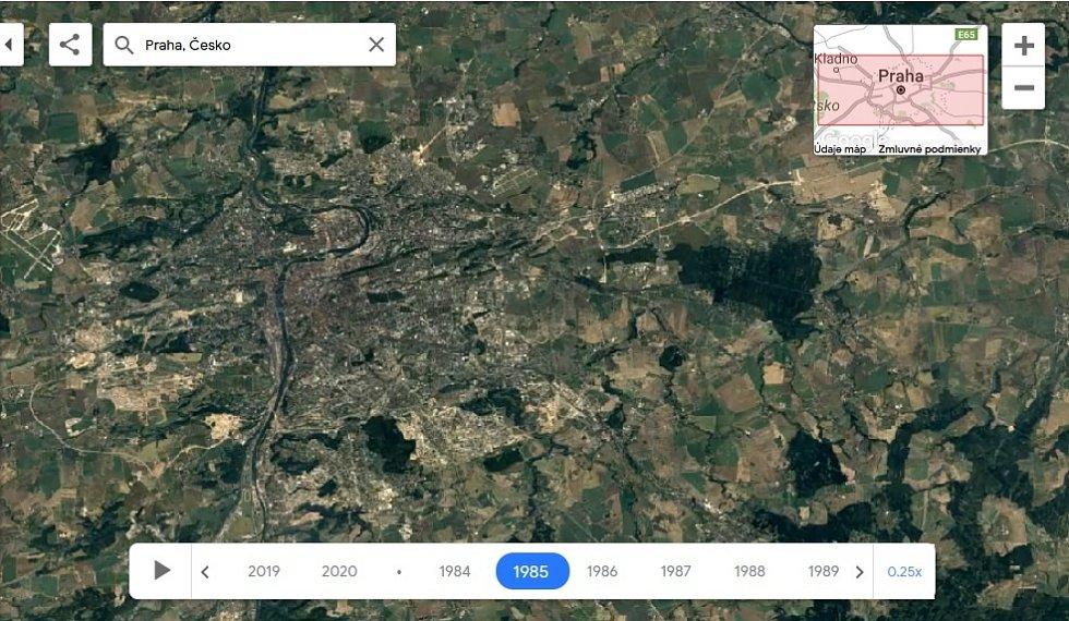 Nová aplikace Google Earth Timelapse umožňuje vidět proměnu planety v posledních čtyřiceti letech. Na snímku Praha, rok 1985.