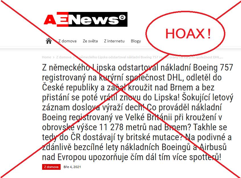 Dezinformaci Aeronetu, která stála na počátku kauzy, už všechny zodpovědné instituce vyvrátily. DHL Express ji označila za hoax