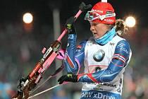 Biatlonistka Veronika Vítková ve štafetě SP v Novém Městě na Moravě.