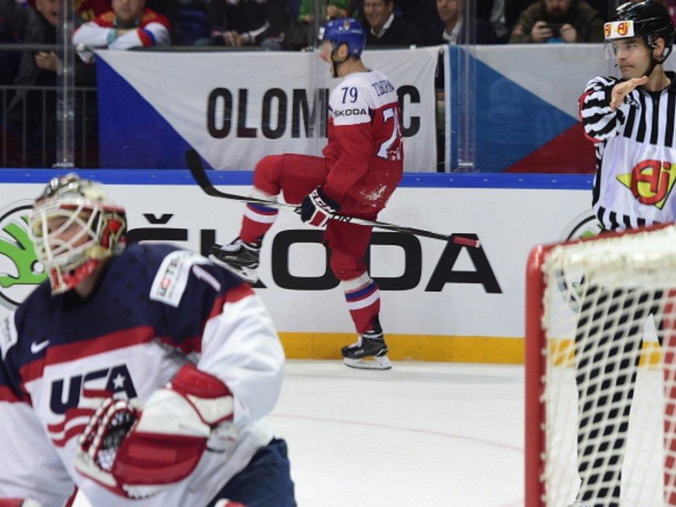 Tomáš Zohorna se raduje z gólu proti USA.