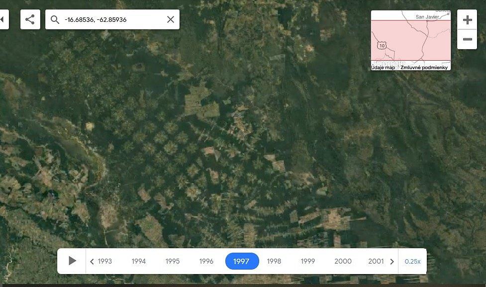 Nová aplikace Google Earth Timelapse umožňuje vidět proměnu planety v posledních čtyřiceti letech. Na snímku odlesňování pralesa v Bolívií, rok 2018.