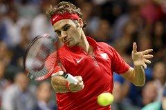 Roger Federer při zápase Švýcarska proti Itálii