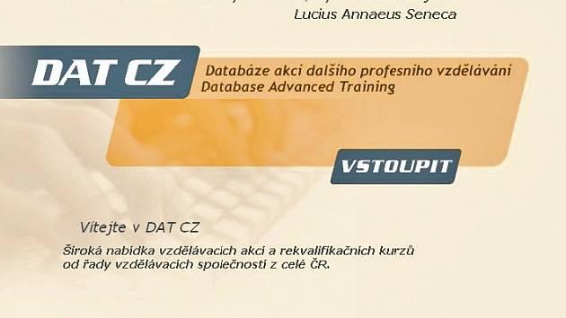 VSTUPNÍ STRÁNKA. Takto vypadá vstupní internotová stránka do databáze DAT CZ.