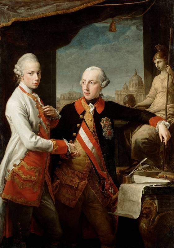 Leopold II. se svým bratrem Josefem II. na obraze Pompea Batoniho