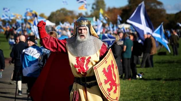 Demonstrace za nezávislost Skotska.