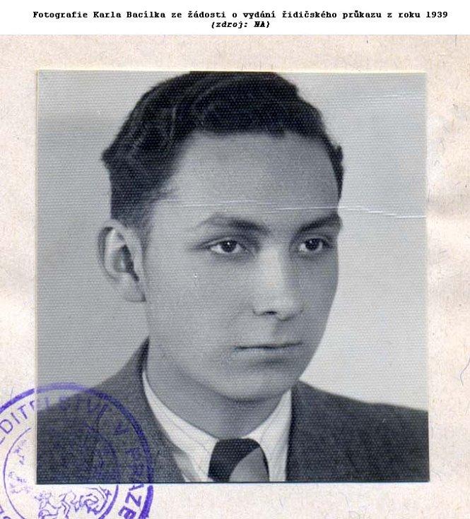 Fotografie Karla Bacílka ze žádosti o vydání řidičského průkazu