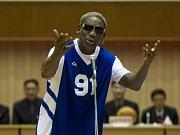 Dennis Rodman před exhibicí v Pchjongjangu.
