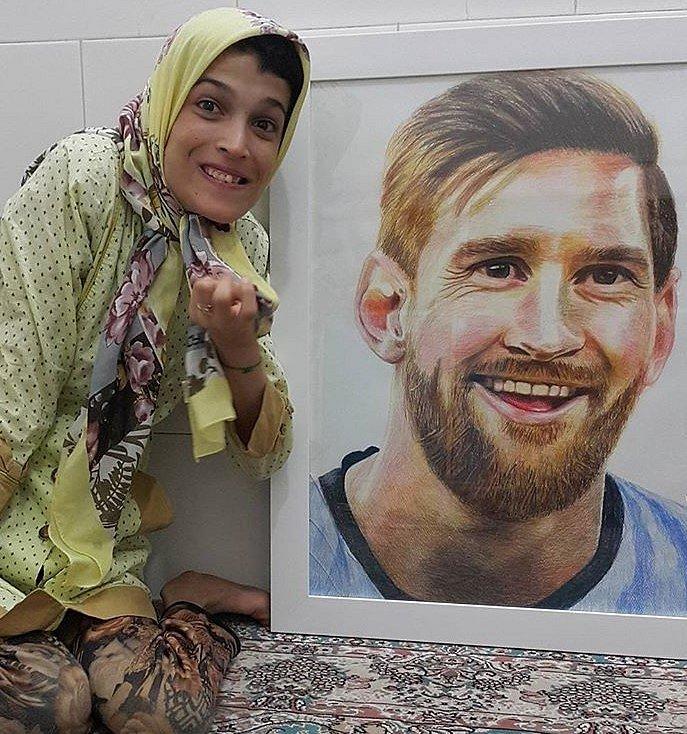 Portrét Lionela Messiho od handicapované Fatemeh.
