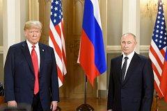 Americký prezident Donald Trump a ruský prezident Vladimir Putin.