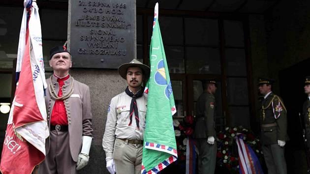 Vzpomínková akce k připomenutí památky obětí okupace na území Československa v roce 1968 u Českého rozhlasu.