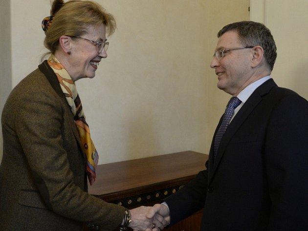 Ministr zahraničních věcí České republiky Lubomír Zaorálek (vpravo) přijal 26. ledna v Praze norskou velvyslankyni Siri Ellen Sletnerovou (vlevo).