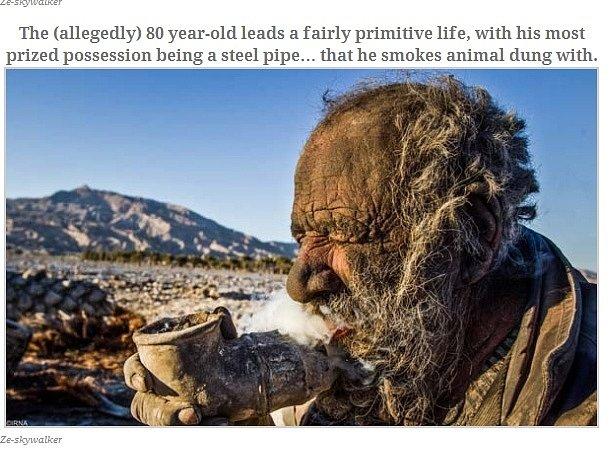 Osmdesátiletý Íránec obrůstá mechem. Už 60 let se nemyje.