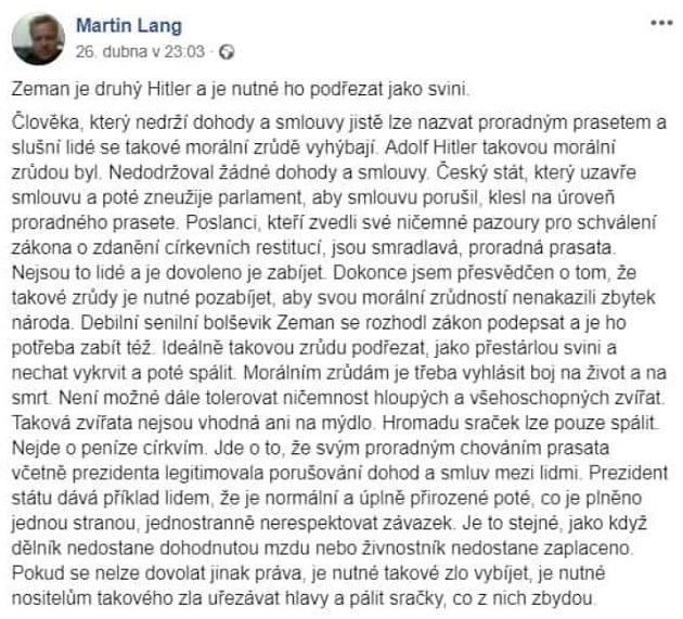 Tento status napsal předseda jesenické ODS Martin Lang na facebook.