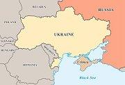 Poloostrov Krym (vyšrafované území) je předmětem sporu mezi Ukrajinou a Ruskem. Rusové ho považují od roku 2014 za své území.