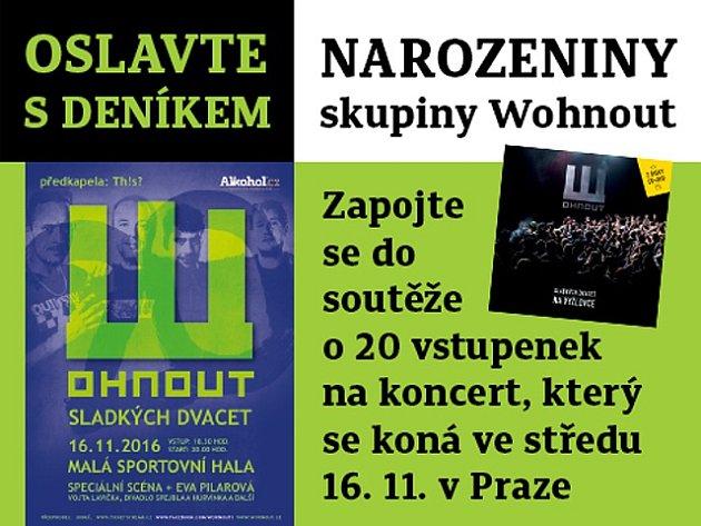 Oslavte sDeníkem narozeniny skupiny Wohnout. Zapojte se do soutěže ovstupenky na koncert, který se koná dne 16.listopadu 2016vPraze.