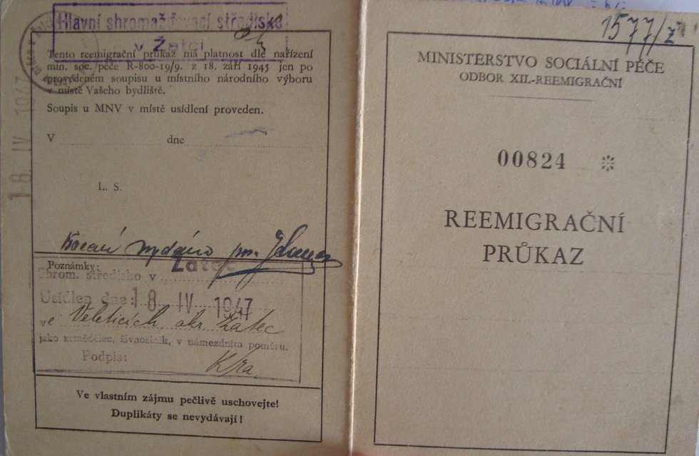 Průkaz reemigranta (matky Rostislava Kubišty) z Volyně