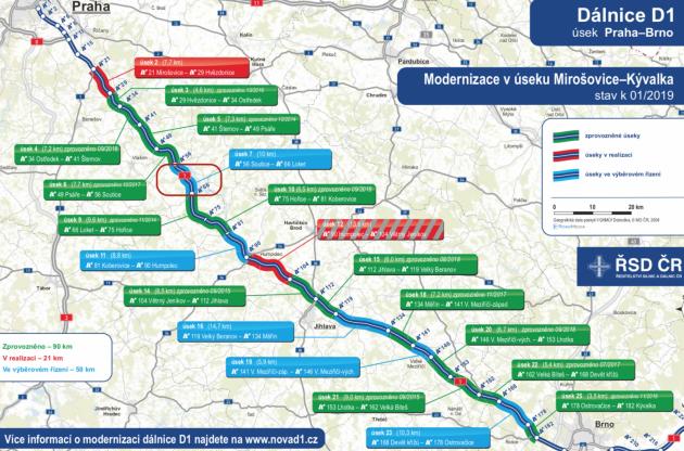Mapa opravovaných úseků na dálnici D1 mezi Prahou a Brnem