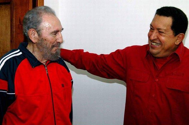 Fidel Castro a Hugo Chavez na setkání v Havaně.