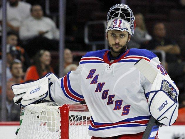 Ondřej Pavelec v dresu NY Rangers.