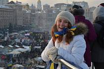 Protivládní demonstrace v Kyjevě.
