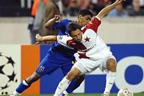 Slavia - Steaua. Hubáček vs. Nicolita.