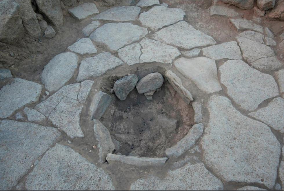Kruhové ohniště, které sloužilo jako pec, pro pečení chleba