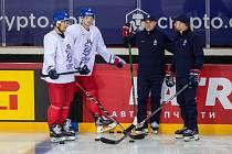 Trénink českého týmu před utkáním s Běloruskem.