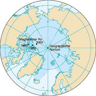 Poloha severního magnetického pólu letech 1960, 1980 a 2000
