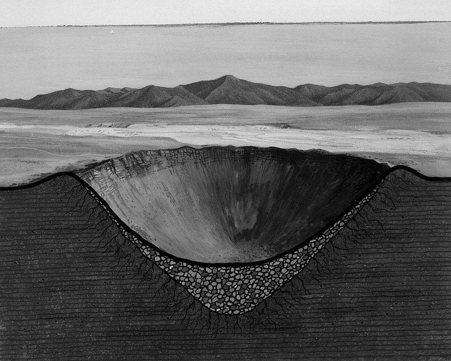 Umělecké ztvárnění průřezu kráteru po výbuchu jaderné bomby