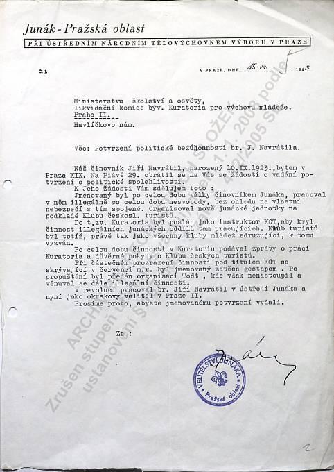 Jiří Navrátil, potvrzení Junáka o odbojové činnosti, rok 1945