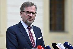 Předseda ODS Petr Fiala na briefingu po schůzce s prezidentem Milošem Zemanem