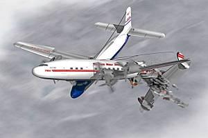 Vizualizace srážky dvou letadel nad americkým Grand Canyonem v roce 1956. Celkem zemřelo 128 lidí. Letadlo společnosti United Airlines při nárazu levým křídlem odseklo ocas letadla společnosti TWA. Oba stroje se staly neovladatelnými a ve vysoké rychlosti