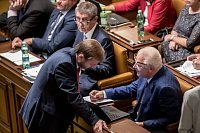 Poslanecká sněmovna 6. září v Praze rozhodovala o zbavení imunity kvůli kauze Čapí hnízdo u poslanců Andreje Babiše a Jaroslava Faltýnka. Na snímku Roman Sklenák a Jaroslav Faltýnek.