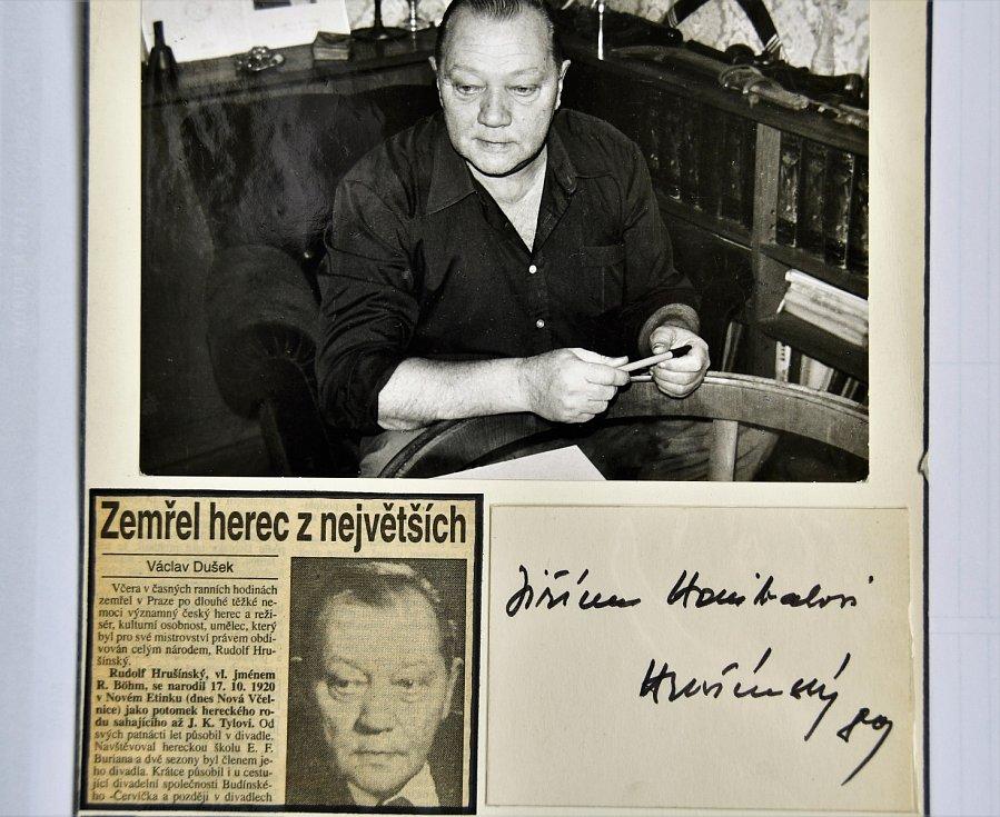 Autogram Herce Rudolfa Hrušínského.