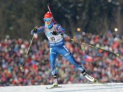 Biatlonistka Veronika Vítková sprintuje na SP v Novém Mestě pro bronz.