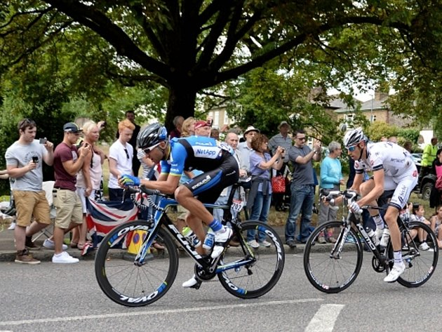 Jan Bárta (vlevo) v úniku ve 3. etapě Tour de France.