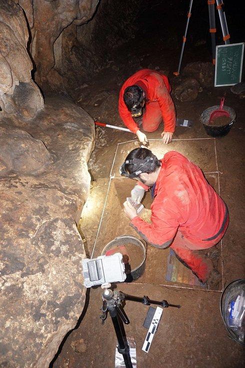 Práce v jeskyni Romualdova Pećina