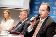 První z debat Hospodářské komory kandidátů v nadcházejících volbách proběhla 6. září v Praze. Na snímku Hynek Eckhart Beran.