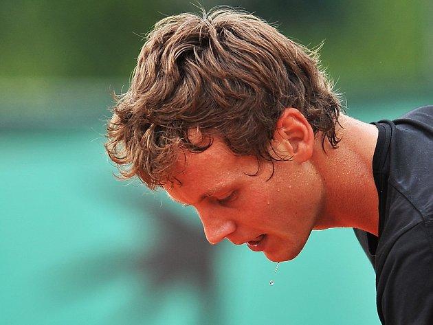 Tomáš Berdych trénuje na French Open.