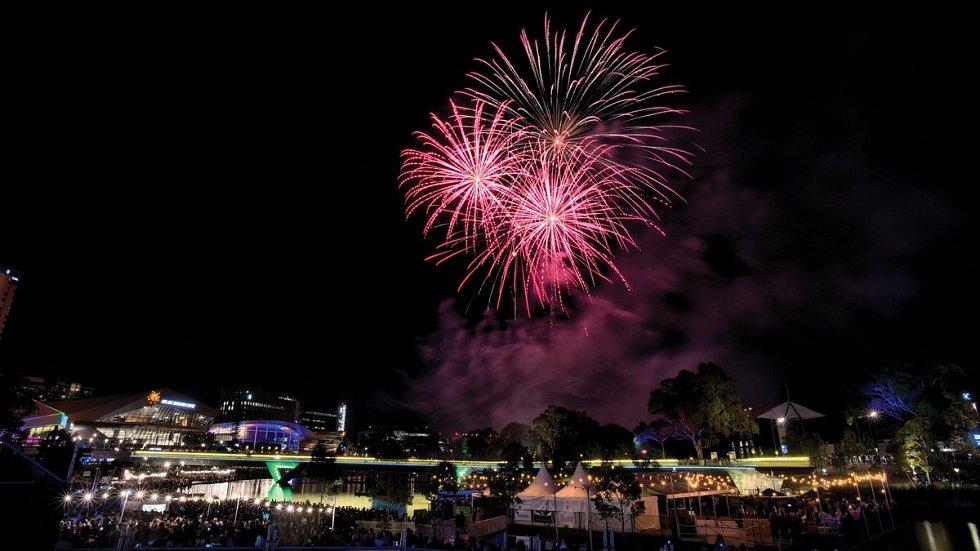 Novoroční ohňostroj v australském Adelaide
