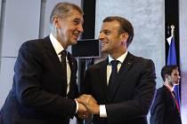 Setkání lídrů EU v Salcburku. Andrej Babiš a Emmanuel Macron.