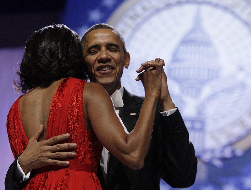 2013, Barack Obama. Snímek je z druhého inauguračního plesu, jenž Obamovi ve Washingtonu zahajovali