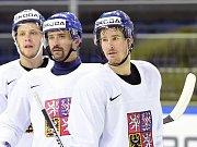 Elitní česká formace (zleva) David Pastrňák, Tomáš Plekanec a Roman Červenka.