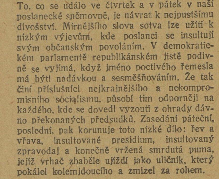 Na přetřes se dostaly i další články z hlubin historie české politiky