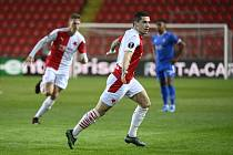 Utkání osmifinále Evropské ligy mezi pražskou Slavií a Glasgow Rangers.