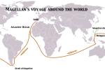 Mapa Magalhaesovy cesty kolem světa