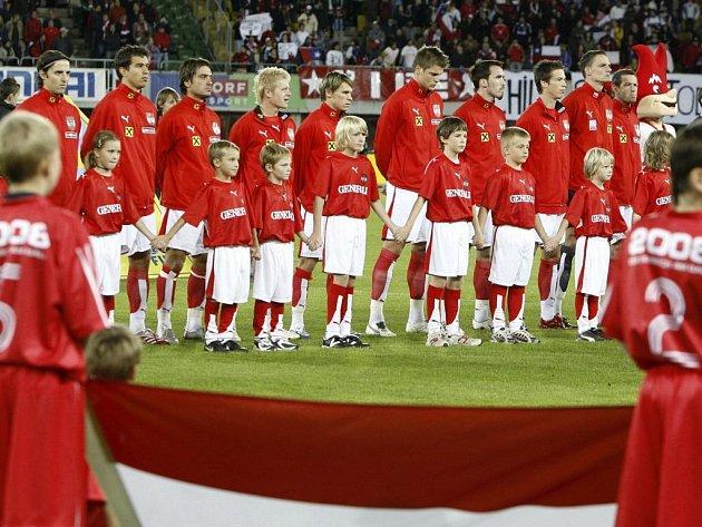 Rakouští fotbalisté před přátelským utkáním s Chile, které se hrálo 11. září ve Vídni.