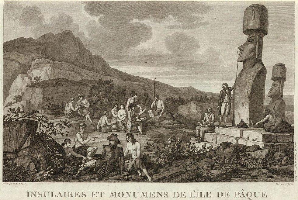 Francouzská expedice La Pérouse na Velikonočním ostrově v roce 1786.