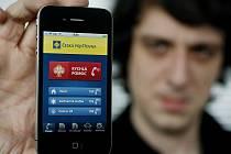 Česká pojištovna představila 10. března v Praze aplikaci pro chytré telefony. Na snímku aplikace v telefonu Iphone. Aplikace bude přístupná od 15. března.